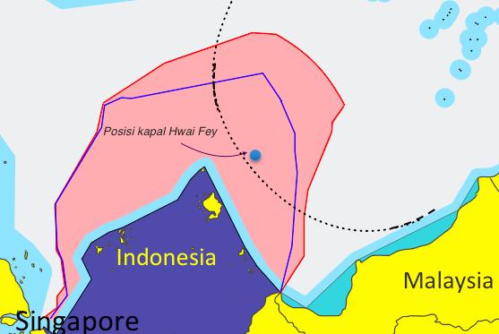 Gambar 5 Posisi estimasi kapal Hwai Fey milik Tiongkok