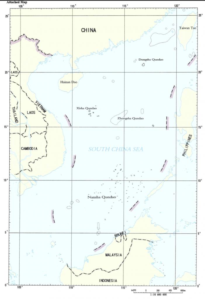 Gambar 2 Nine-dashed Line, Klaim Tiongkon di Laut Tiongkok Selatan