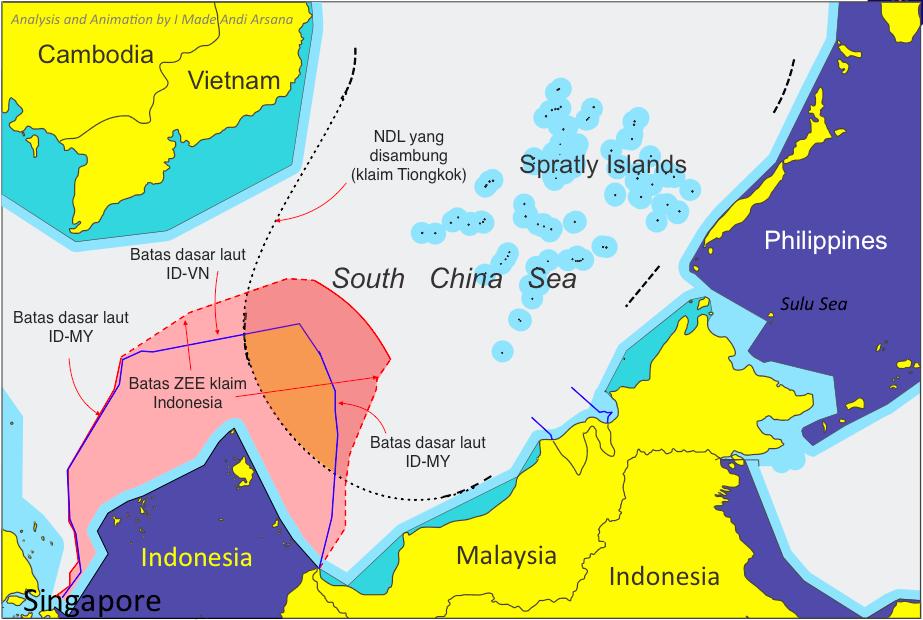 Gambar 3 Garis batas dasar laut dan garis klaim ZEE di LTS